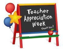 Teacher Appreciation Week, Stars and Balloons, Chalkboard Easel for Children. Teacher Appreciation Week, first full week of May, thank you, stars and balloons Royalty Free Stock Images
