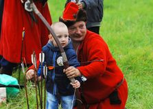 Teacher archery Royalty Free Stock Image