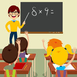 Teacher Asking Classroom. Happy young male teacher standing asking maths lesson to children raising hands up sitting in classroom royalty free illustration