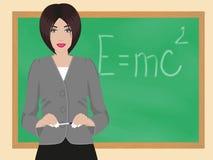 Teacher. On background of blackboard Stock Images
