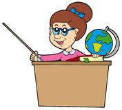 Teacher behind the desk Royalty Free Stock Photos
