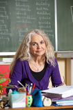 Teacher behind her desk Royalty Free Stock Photos