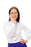 Teacher in big glasses over white background Stock Images