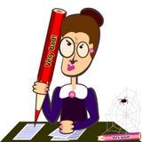 Teacher with big pencil stock illustration