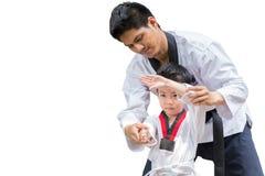 Free Teacher Black Belt Taekwondo Fighter Kid Punch Guard Stand For Flight Stock Photography - 126552752