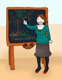 Teacher at the blackboard. Young teacher explains at the blackboard. Digital colors Stock Photos