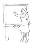 Teacher at the blackboard black and white. A young teacher explains at the blackboard. Black and white illustration Stock Images