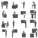 Teacher At Blackboard In Class Icons  Set Royalty Free Stock Photography