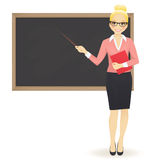 The teacher at blackboard. With copy space showing Royalty Free Stock Images