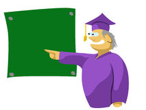 Teacher at blackboard pointing to Royalty Free Stock Photo