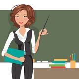 Teacher at blackboard. Vector illustration Royalty Free Stock Photos