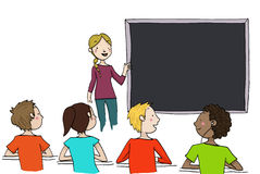 Teacher at blackboard. Young blond teacher explains at the blackboard to a classroom. Illustration  on white background Stock Photo
