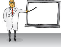 Teacher with Blank Board. A fully scalable illustration of a teacher pointing to a blank school board stock illustration