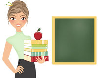 Teacher with books and chalkboard Stock Image