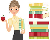 Teacher with books. Teacher holding books and apple with extra stacks of books, clip art vector illustration