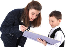 Teacher and boy Royalty Free Stock Images