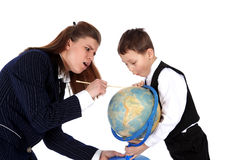 Teacher and boy with globe Royalty Free Stock Photo