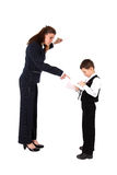 Teacher and boy with pen Stock Photo