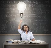 Teacher brilliant idea. Teacher has a brilliant and smart idea Royalty Free Stock Images