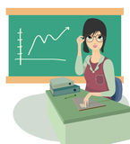 Teacher. Business woman sitting at a table with a graph in the background Royalty Free Stock Photography