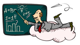 Dreaming teacher or businessman. Teacher or businessman on cloud near blackboard promoting some idea Stock Photography