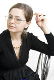 Teacher or Businesswoman a black dress. Royalty Free Stock Photo