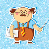Teacher. Cartoon teacher with a pointer on the thematic background stock illustration