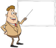 Teacher in cartoon style. Vector illustration of a teacher pointing to whiteboard Stock Photos