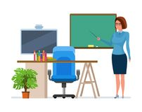 Teacher character person next to board lesson in class. Teacher character person with school pointer in hand, next to chalkboard lesson in class, explains stock illustration