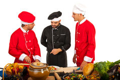 Teacher chef with students Royalty Free Stock Image