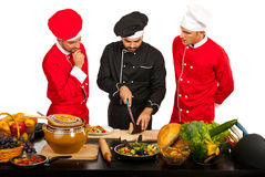 Teacher chef with students stock images