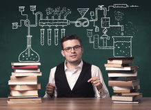 Teacher at chemistry class Royalty Free Stock Photo