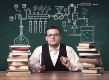 Teacher at chemistry class Stock Image