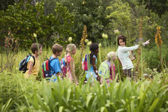 Teacher With Children On Field Trip Royalty Free Stock Photos