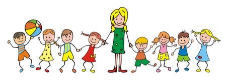 Teacher and children. Kindergarten, vector icon. Funny illustration Stock Photos