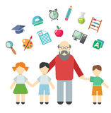 Teacher and children, miscellaneous student in Stock Images