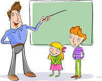 Teacher and children in school. Vector illustration in which may be added a text or picture as you wish Stock Photography