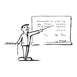 Teacher in classroom. Illustration featuring a teacher holding pointer standing in front of a chalkboard Royalty Free Stock Photos