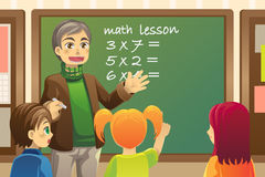 Teacher in  classroom. A  illustration of a teacher teaching math in a classroom Royalty Free Stock Image
