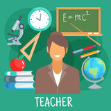 Teacher in classroom with school supplies symbol Stock Photos