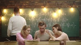 Teacher in classroom. Teacher and students. Classmate Educate Friend Knowledge Lesson Concept. Group Of Students