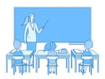 Teacher in classroom. Young woman at blackboard teaching, kids students studying in class. Elementary school education stock illustration