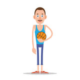 Teacher or coach with basketball. Teacher or coach standing and holding a basketball in his hand. Illustration in flat style. Isolated Royalty Free Stock Photography