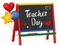 Teacher Day, Hearts and Balloons, Chalkboard Easel for Children Royalty Free Stock Photo