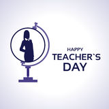 Teacher Day Holiday Silhouette Woman On Globe Greeting Card Stock Images
