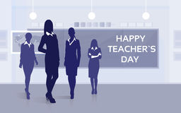 Teacher Day Holiday Silhouette Woman Stuff Class Board Greeting Card Royalty Free Stock Photography