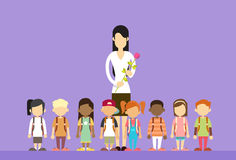 Teacher Day Holiday Woman Hold Flower With School Children Group Stock Photo