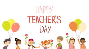 Teacher Day School Children Group Hold Flowers Balloons Holiday Greeting Card Royalty Free Stock Images
