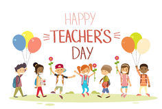Teacher Day School Children Group Hold Flowers Balloons Holiday Greeting Card Stock Images