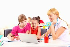 Teacher deals with students Royalty Free Stock Photography